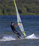 wind surfing on Carsington reservoir