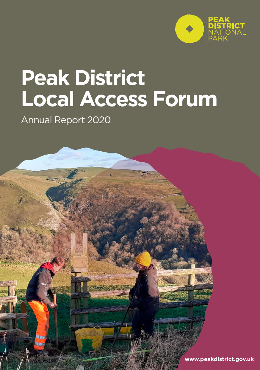 LAF Report 2020 cover showing two Peak Park Conservation Volunteers installing a gatepost on Ossams Hill above the Manifold Valley