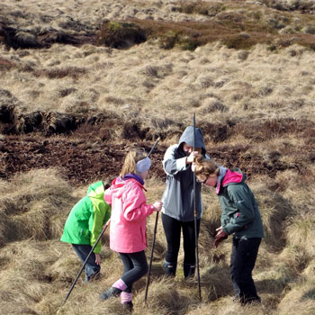 Citizen scientists for a day. Dovestones Youth Rangers, work with Moors for the Future, measuring peat depth to estimate its age