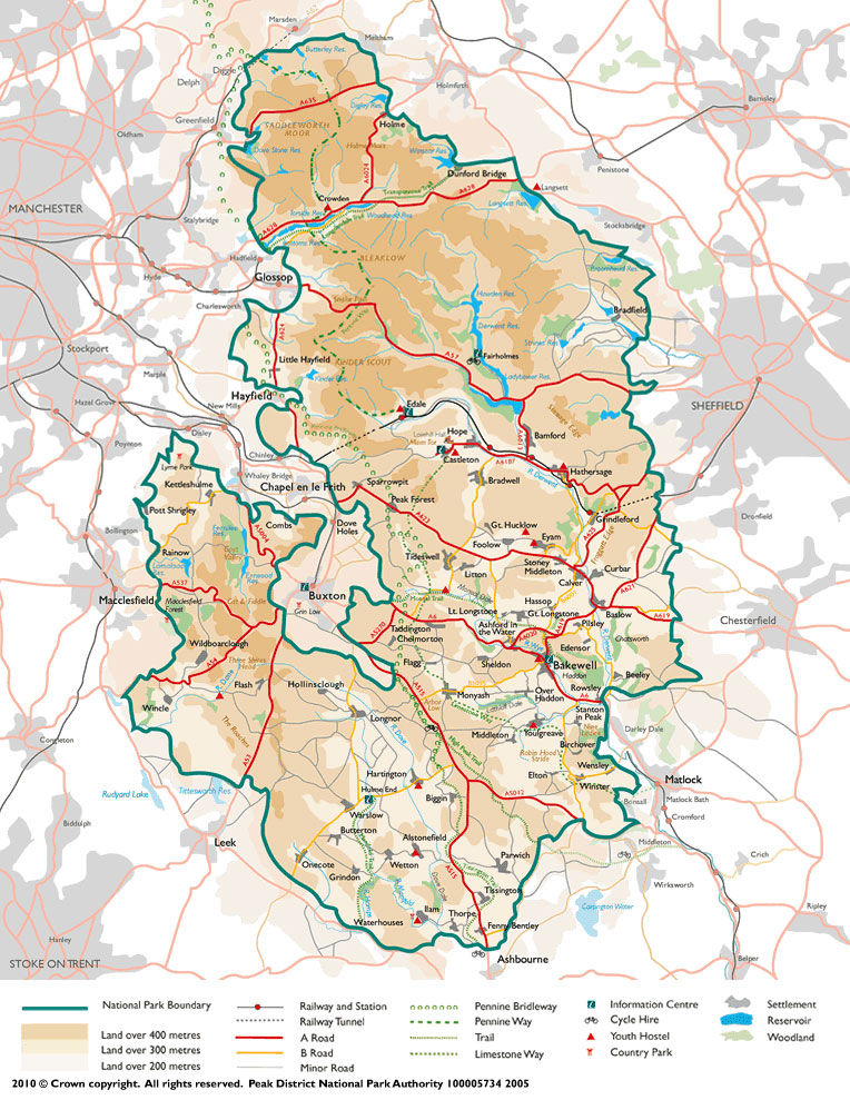 Map of the Peak District National Park