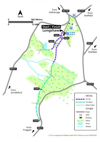 Map of Longshaw Miles Without Stiles route