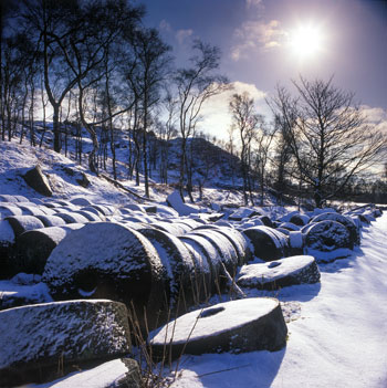 Millstones near Hathersage in snow