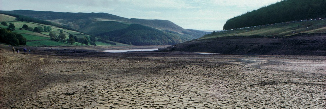 Dried lakebed illustrating climate change in the Peak District