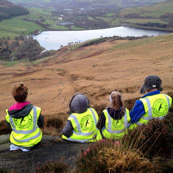Enjoying the view at Dovestones with Youth Rangers