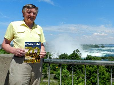 Bob Somerset at Niagra Falls with ParkLife magazine
